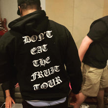 Load image into Gallery viewer, DON'T EAT THE FRUIT TOUR HOODIE - BLACK & BLUE