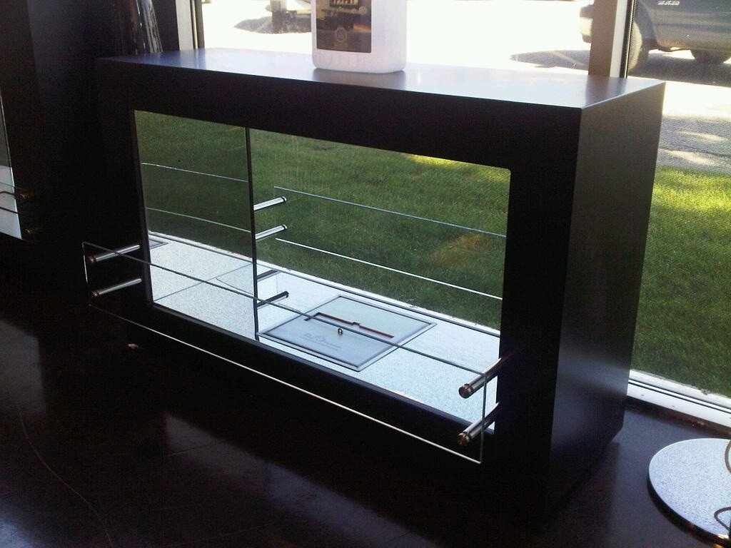 "The Bio Flame Argento 44"" Double Sided See-Through Ethanol Fireplace"