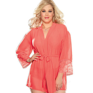 Europe and United States foreign trade women's lingerie plus-size transparent robe bind lace sexy exotic long-sleeved nightgown