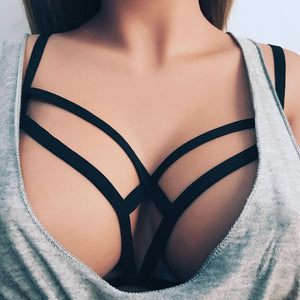 Alluring Women Cage Bra Elastic Cage Bra Strappy Hollow Out Bra Bustier
