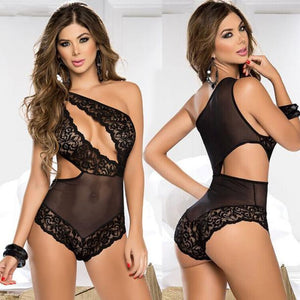 Sexy Lingerie Lace Dress Underwear Black Babydoll Sleepwear Jumpsuits L