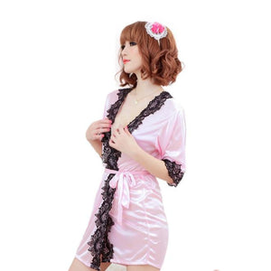 Sexy Silk Lace Kimono Dressing Gown Bath Robe Lingerie Nightdress PK