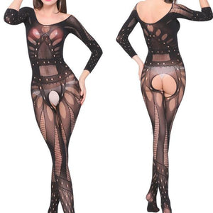 Sexy Women's Underwear Crotchless Bodystocking Suspender Bodysuit