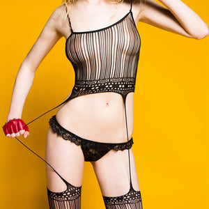 Women Sexy Lingerie Transparent Erotic Net yarn Bodysuit