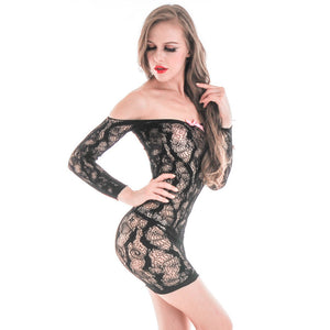 Women Sexy Hollow Package Hip Mesh Bodystockings Bodysuits Nightdress