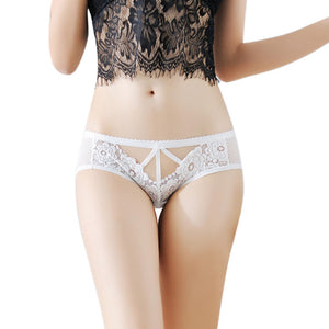 Women Sexy Panties Lingerie Hollow Flower Lace Thongs String Panty Underwear BK