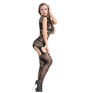 Women Sexy Floral Open Crotch Mesh Bodystockings Bodysuits