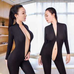 Women Striped Sexy Bodysuit Zipper Long Sleeve Open Crotch Lingerie Jumpsuit