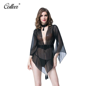 COLLEER New transparent lace sexy hollow vest deep V Teddy hot shapers panty bodysuit Women Underwear Bra Set