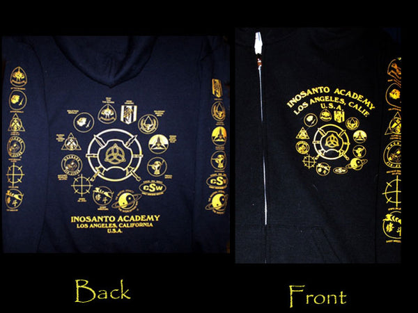Hoodie - Inosanto Academy - Zipper Hooded Sweatshirt - Black & Gold