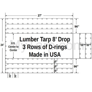 Sigman 8' Drop Light Weight Lumber Tarp 27' x 24' - Airbag Fabric Side Walls - 3 Rows D-Rings - Made in USA