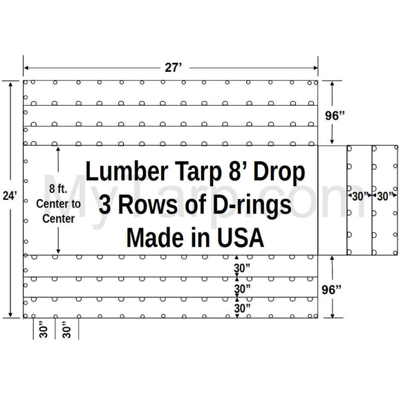 Sigman 8' Drop Lightweight Flatbed Lumber Tarp 27' x 24' - Airbag Fabric Side Walls - 3 Rows D-Rings - Made in USA