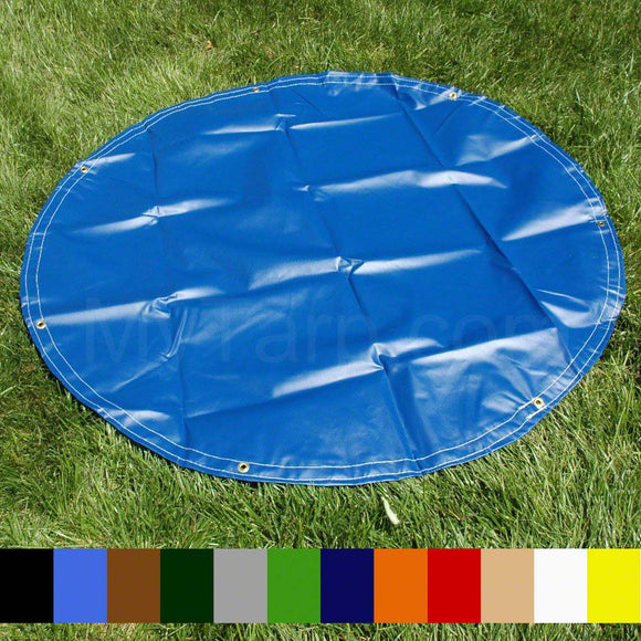 12' Diameter Round Tarp - 18 OZ Vinyl Coated Polyester