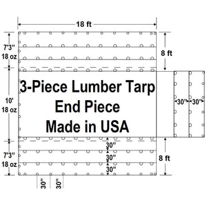 Sigman 8' Drop 3-Piece Flatbed Lumber Tarp Heavy Duty - 18' x 24' End Piece Only - 18 oz Vinyl Coated Polyester - 3 Rows D-Rings - Made in USA