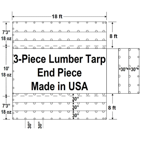 Sigman 8' Drop 3-Piece Lumber Tarp Heavy Duty - 18' x 24' End Piece Only - 18 oz Vinyl Coated Polyester - 3 Rows D-Rings - Made in USA