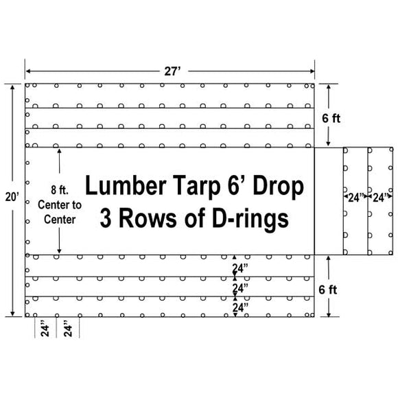 Sigman 6' Drop Flatbed Lumber Tarp Heavy Duty 27' x 20' - 18 oz Vinyl Coated Polyester - 3 Rows of D-Rings