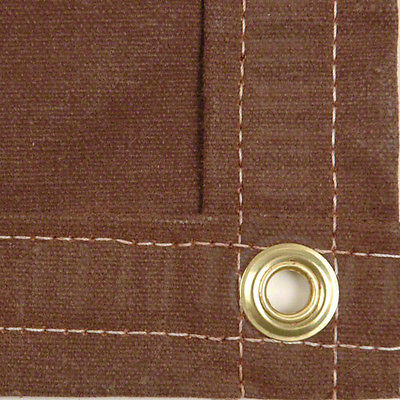 Sigman 10' x 10' Heavy Duty Cotton Canvas Tarp 18 OZ - Brown - Made in USA
