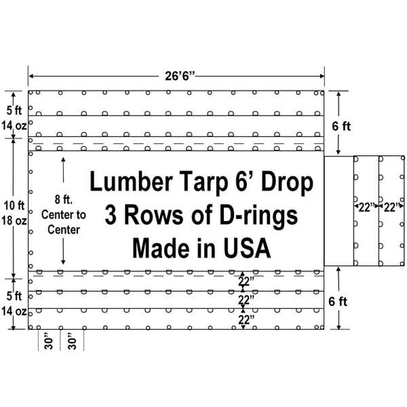 Sigman 6' Drop Lumber Tarp Light Weight 27' x 20' - 18/14 oz Vinyl Coated Polyester - 3 Rows D-Rings - Made in USA