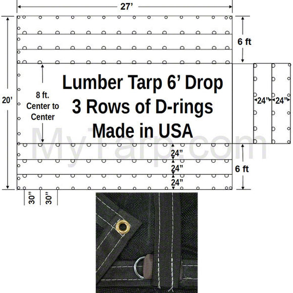 Sigman 6' Drop Black Mesh Flatbed Lumber Tarp 27' x 20' - 3 Rows D-Rings - Made in USA