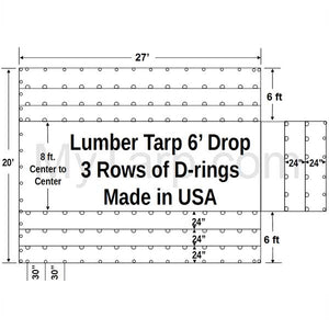 Sigman 6' Drop Lightweight Flatbed Lumber Tarp 27' x 20' - Airbag Fabric Side Walls - 3 Rows D-Rings - Made in USA