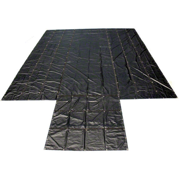 Sigman 8' Drop Flatbed Lumber Tarp Heavy Duty 27' x 24' - 18 oz Vinyl Coated Polyester - 3 Rows D-Rings