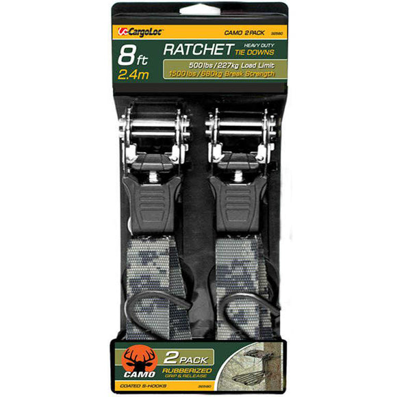 CargoLoc Camo Ratchet Tie Downs 32580 - 1 in x 8 ft. - 2-Pack