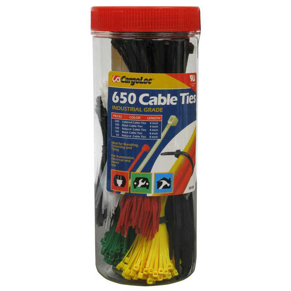 CargoLoc 650 ct. Cable Zip Ties - Assorted Lengths and Colors