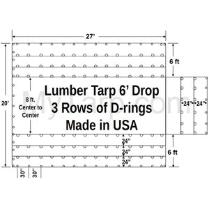 Sigman 6' Drop Lumber Tarp Heavy Duty 27' x 20' - 18 oz Vinyl Coated Polyester - 3 Rows D-Rings - Made in USA