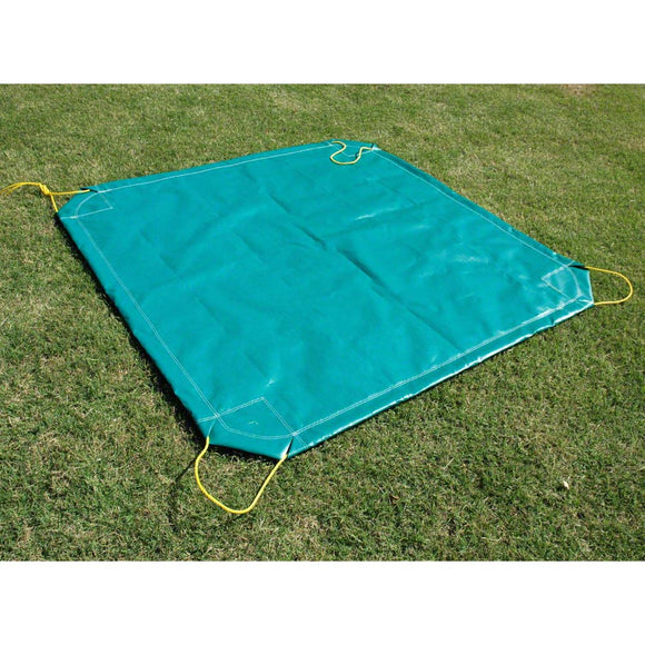 Sigman 9' x 9' Drawstring Leaf Tarp - Yard Tarp with Handles - 10 oz Vinyl Coated Polyester - Green - Made in USA