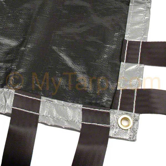 15' x 54' Hay Tarp - Silver Black Poly - UV Resistant Coated - New - Imported