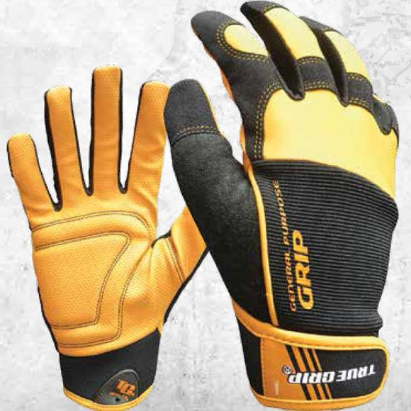 True Grip General Purpose Leather Gloves With Touchscreen Fingers