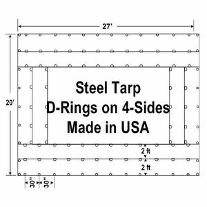 Sigman Steel Tarp 27' x 20' 18 Oz Black Vinyl Coated Polyester - D-Rings 4 Sides - Black - Made in USA