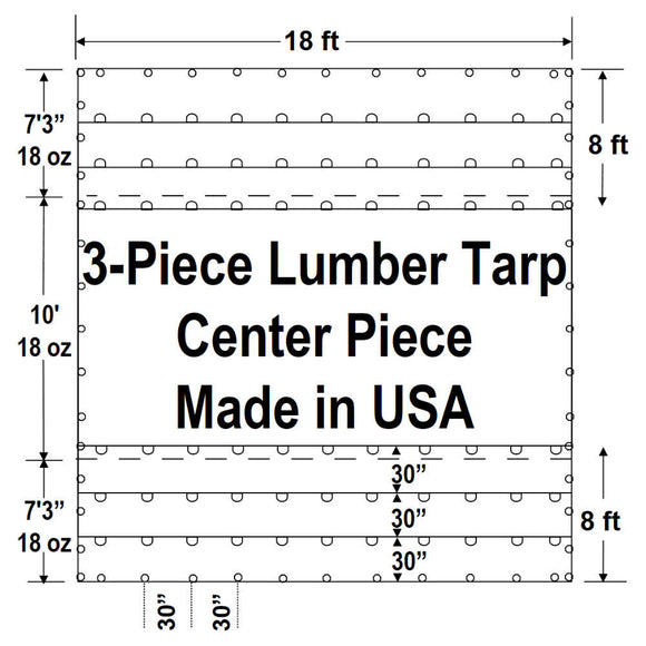 Sigman 8' Drop 3-Piece Flatbed Lumber Tarp Heavy Duty - 18' x 24' Center Piece Only - 18 oz Vinyl Coated Polyester - 3 Rows D-Rings - Made in USA