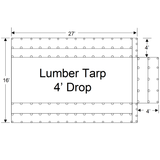 Sigman 4' Drop Flatbed Lumber Tarp Heavy Duty 27' x 16' - 18 oz Vinyl Coated Polyester - Made in USA