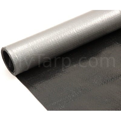 Silver Black Poly Fabric - 6' Wide