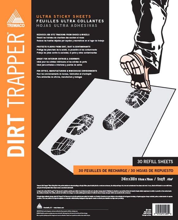 Dirt Trapper Ultra Sticky Mat - 15 Layer Refill - 24