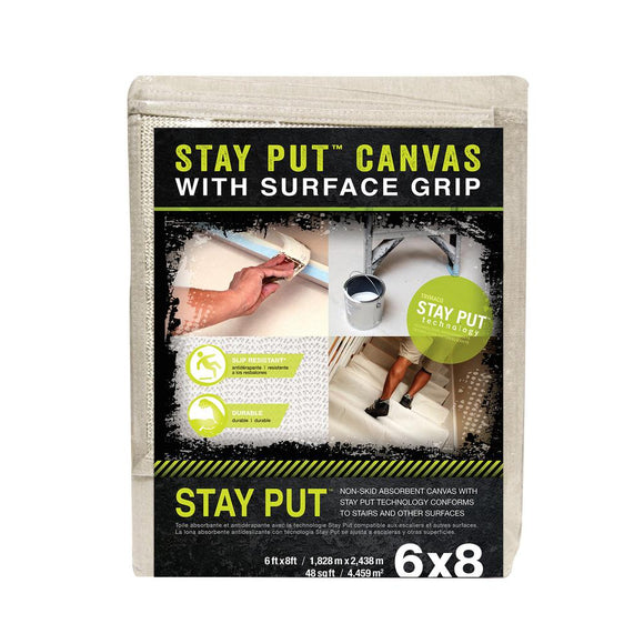 Stay Put 6' x 8' Slip Resistant Canvas Drop Cloth