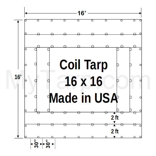Coil Tarp 16' x 16' 18 Oz Black Vinyl Coated Polyester - Black - Made in USA
