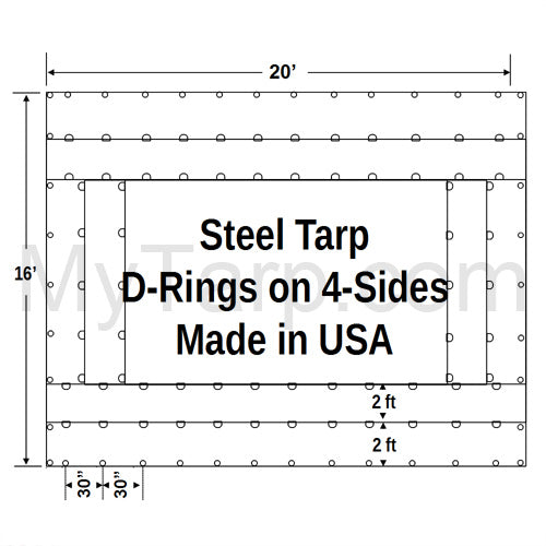 Sigman Steel Tarp 20' x 16' 18 Oz Black Vinyl Coated Polyester - D-Rings Sides - Black - Made in USA