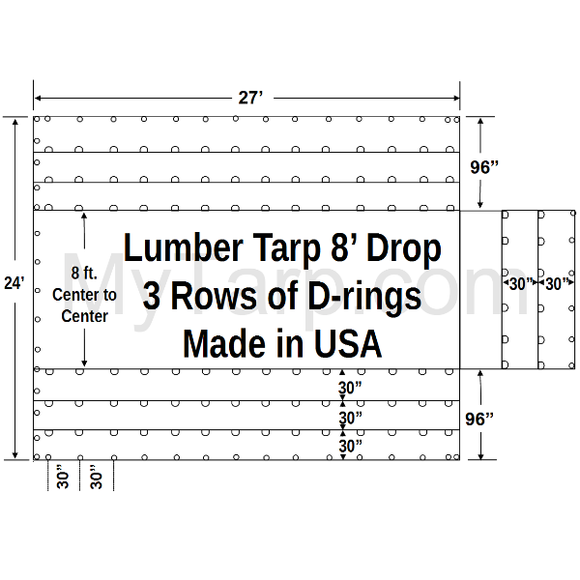 Sigman 8' Drop Flatbed Lumber Tarp Heavy Duty 27' x 24' - 18 oz Vinyl Coated Polyester - 3 Rows D-Rings - Made in USA