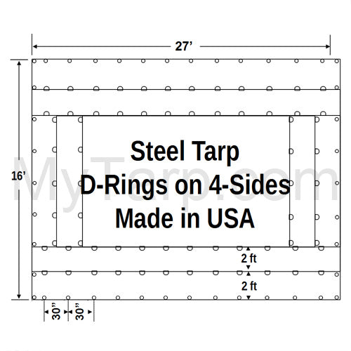 Sigman Steel Tarp 27' x 16' 18 Oz Black Vinyl Coated Polyester - D-Rings 4 Sides - Black - Made in USA