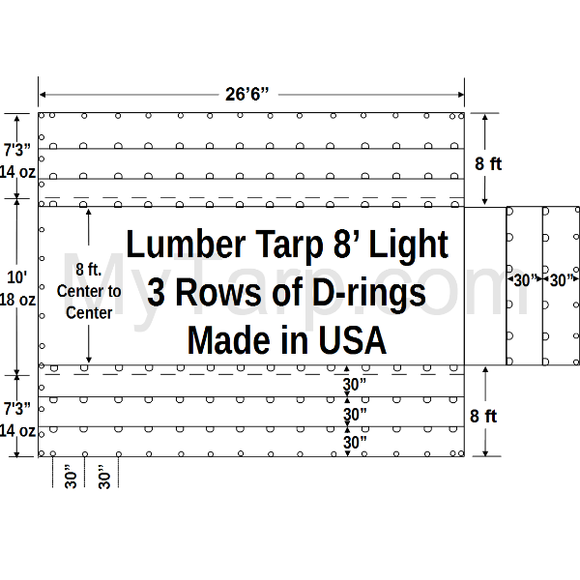 Sigman 8' Drop Flatbed Lumber Tarp Lightweight 27' x 24' - 18/14 oz Vinyl Coated Polyester - 3 Rows D-Rings - Made in USA