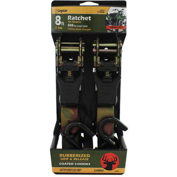 CargoLoc Camo Ratchet Tie Downs 84018 - 1 in x 8 ft. - 2-Pack