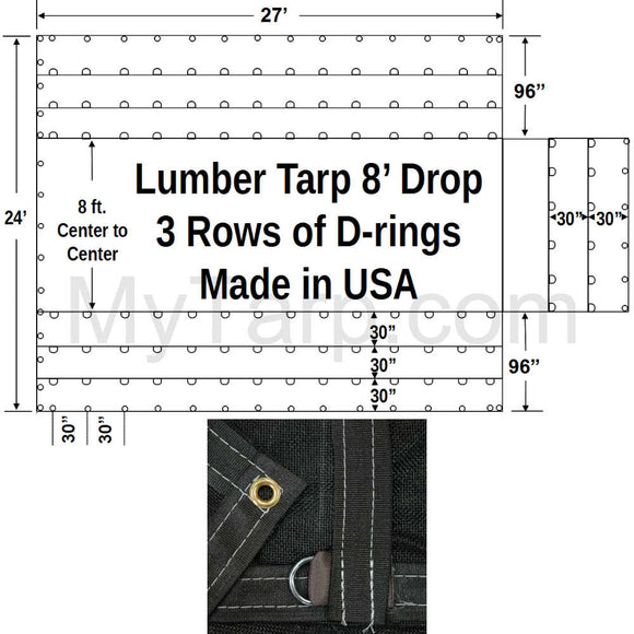 Sigman Black Mesh 8' Drop Flatbed Lumber Tarp 27' x 24' - 3 Rows D-Rings - Made in USA