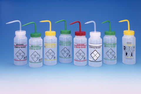 Wash Bottles, Wide Mouth, Solvent, Color Coded, Right to Know