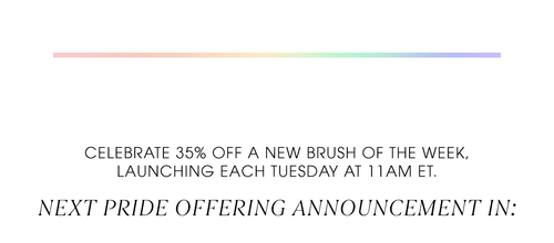 Celebrate 35% OFF a NEW brush of the week, launching each Tuesday at 11AM ET.   NEXT PRIDE OFFERING LAUNCHING IN: