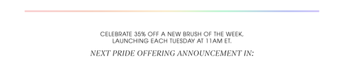 Celebrate 35% off a new brush of the week, launching each Tuesday at 11AM ET. Next pride offering announcement in: