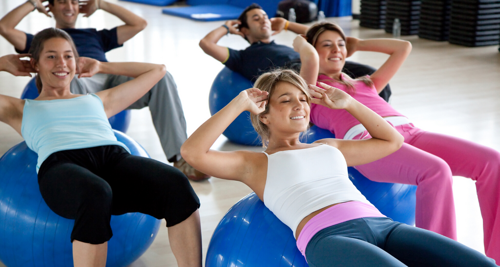 Ladies working out on exercise balls