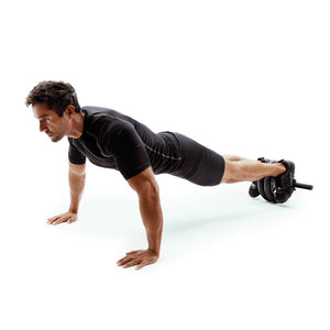 Man Using 66fit Abs & Core Power Wheel With Knee Pad 2