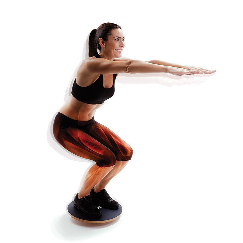 Woman Using 66fit Wooden Balance Board - PVC Surface - 40cm